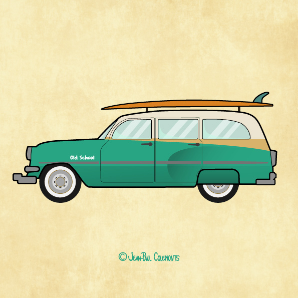 old school car illustration